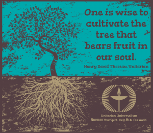 Drawing of tree showing roots with Thoreau quote One is wise to cultivate the tree which is the fruit of our soul