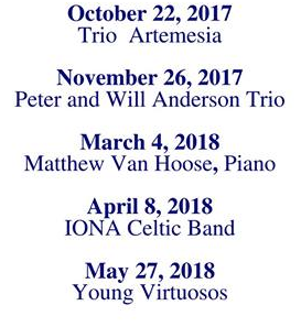 Come hear Trio Artemesia, Peter and Will Anderson Trio, Matthew VanHoose, IONA Celtic Band, and Young Virtuosos