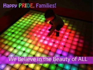Rainbow lights with child on it - happy pride families