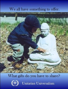 Child putting something in lap of Buddha statue with quote We all have something to offer What gifts do you have to share