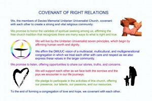 Words of covenant on Membership page - posted has images of hands with different skin colors linking wrists and adult with child and rainbow chalice and heart