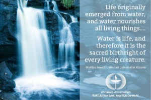 Water fall with text of quote - life water nourishes all