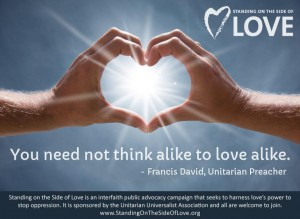 Hands shaped into heart with quote - We need not think alike to love alike by Francis David
