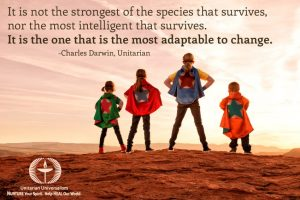 most adaptive survive - darwin quote - with photo of all ages in superman and superwoman costumes by uumedia